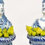 A presentation of rare Dutch Delftware bouquetières figures at the 2015 Winter Antiques Show